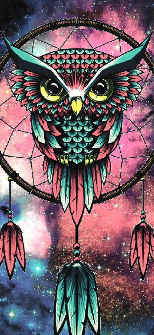 Pink and Blue Owl Dreamcatcher - Full Drill Diamond Painting - Specially ordered for you. Delivery is approximately 4 - 6 weeks.