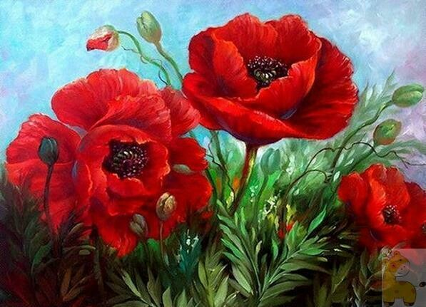 Poppies - Full Drill Diamond Painting - Specially ordered for you. Delivery is approximately 4 - 6 weeks.