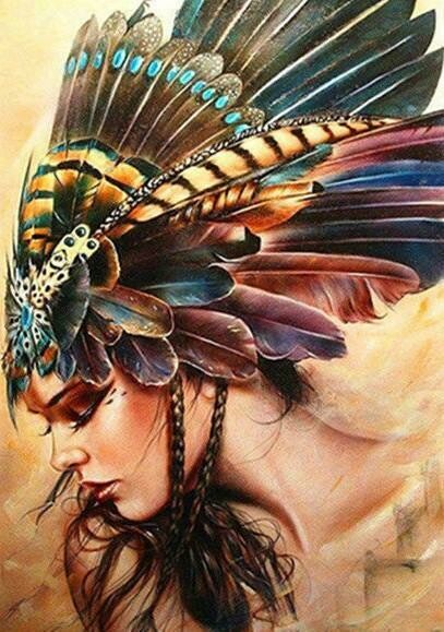 Pretty Feather Girl  - Full Drill Diamond Painting - Specially ordered for you. Delivery is approximately 4 - 6 weeks.