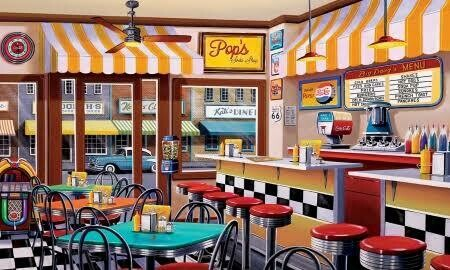 Pops Cafe - Full Drill Diamond Painting - Specially ordered for you. Delivery is approximately 4 - 6 weeks.