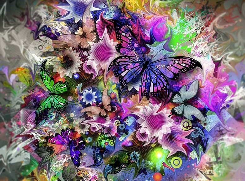 Purple Flowers and Butterfly - Full Drill Diamond Painting - Specially ordered for you. Delivery is approximately 4 - 6 weeks.