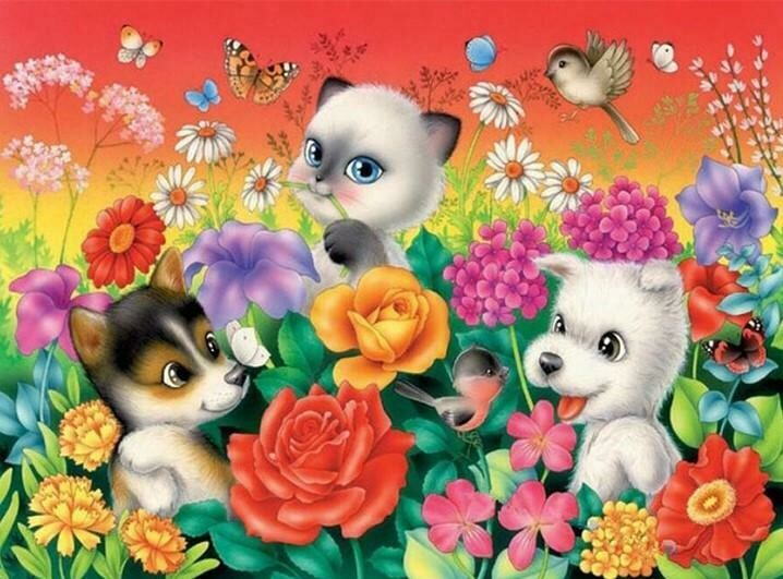 Playful Pups - Full Drill Diamond Painting - Specially ordered for you. Delivery is approximately 4 - 6 weeks.