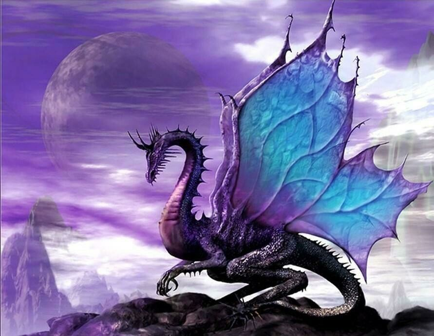 Purple Dragon - Full Drill Diamond Painting - Specially ordered for you. Delivery is approximately 4 - 6 weeks.