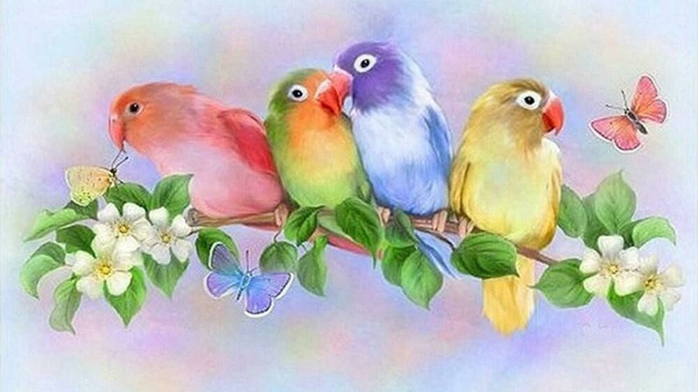 4  Pretty Birds - Full Drill Diamond Painting - Specially ordered for you. Delivery is approximately 4 - 6 weeks.