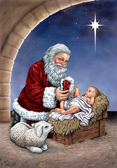 Santa and Baby Jesus 1 - Full Drill Diamond Painting - Specially ordered for you. Delivery is approximately 4 - 6 weeks.
