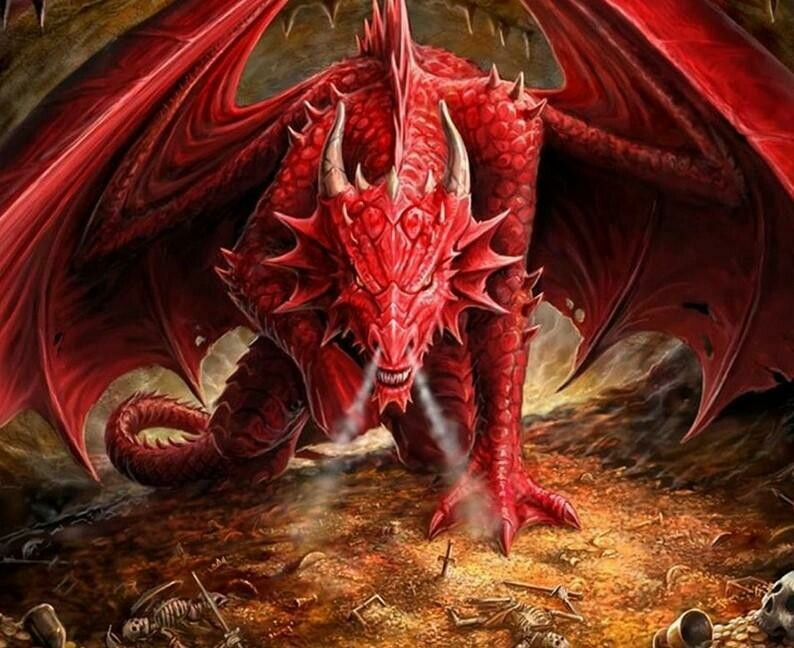 Big Red Dragon - Full Drill Diamond Painting - Specially ordered for you. Delivery is approximately 4 - 6 weeks.