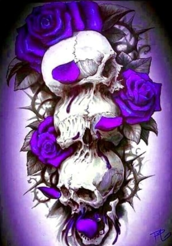 Skulls and Roses in Purple - Full Drill Diamond Painting - Specially ordered for you. Delivery is approximately 4 - 6 weeks.