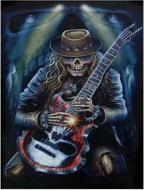 Skeleton Guitar Man - Full Drill Diamond Painting - Specially ordered for you. Delivery is approximately 4 - 6 weeks.
