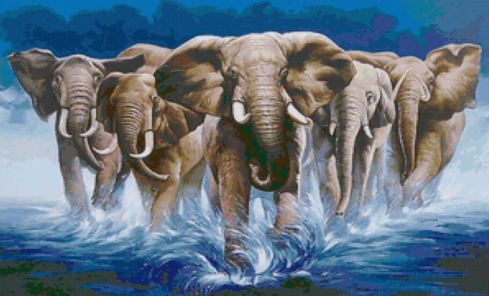 Elephant Stampede - Full Drill Diamond Painting - Specially ordered for you. Delivery is approximately 4 - 6 weeks.