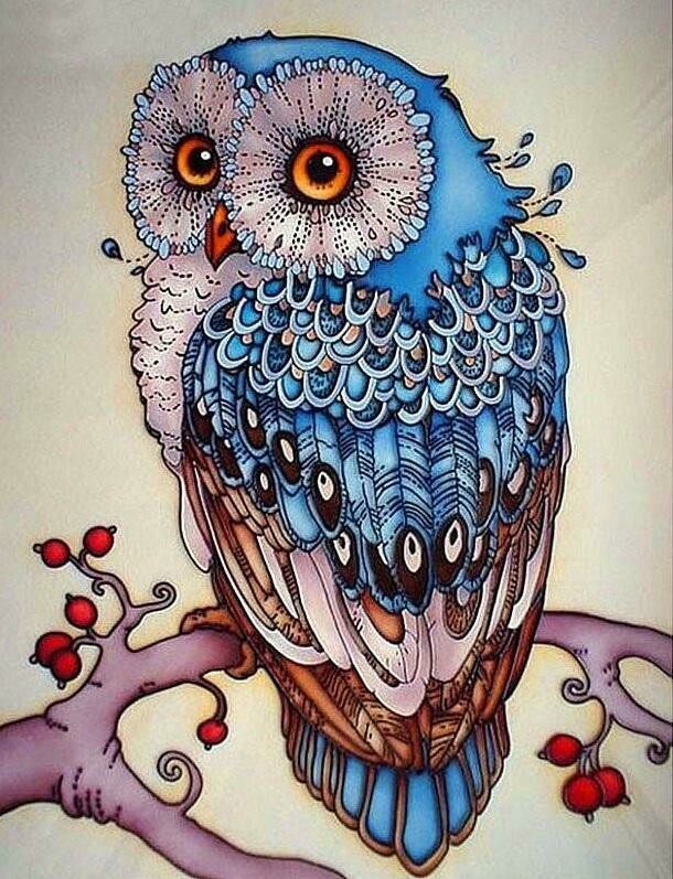 Blue Owl - Full Drill Diamond Painting - Specially ordered for you. Delivery is approximately 4 - 6 weeks.