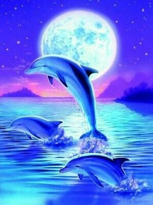 Dolphin Trio - Full Drill Diamond Painting - Specially ordered for you. Delivery is approximately 4 - 6 weeks.