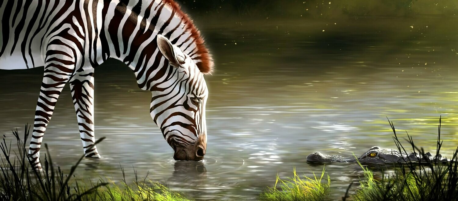 Zebra And Croc - Full Drill Diamond Painting - Specially ordered for you. Delivery is approximately 4 - 6 weeks.