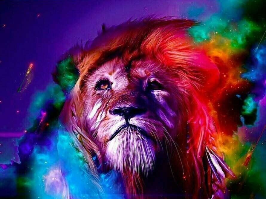 Ultra Coloured Lion - Full Drill Diamond Painting - Specially ordered for you. Delivery is approximately 4 - 6 weeks.