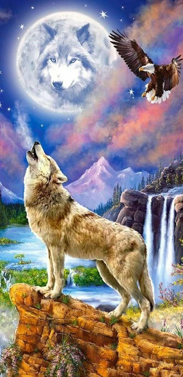 Wolf's Night - Full Drill Diamond Painting - Specially ordered for you. Delivery is approximately 4 - 6 weeks.