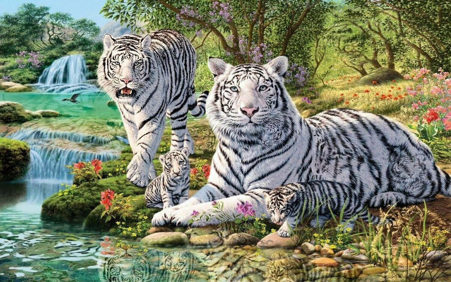 White Tiger Family - Full Drill Diamond Painting - Specially ordered for you. Delivery is approximately 4 - 6 weeks.