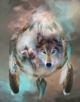 Wolf  Dream Catcher  - Full Drill Diamond Painting - Specially ordered for you. Delivery is approximately 4 - 6 weeks.