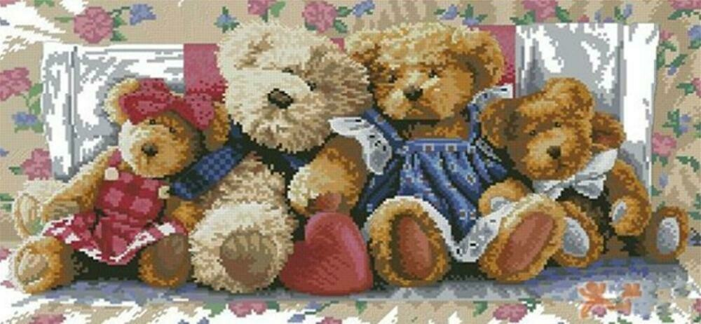 Teddy Bear Family  - Full Drill Diamond Painting - Specially ordered for you. Delivery is approximately 4 - 6 weeks.