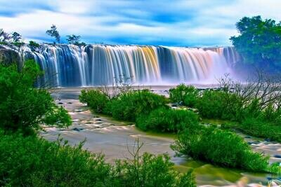 Waterfall with Green Grass - Full Drill Diamond Painting - Specially ordered for you. Delivery is approximately 4 - 6 weeks.