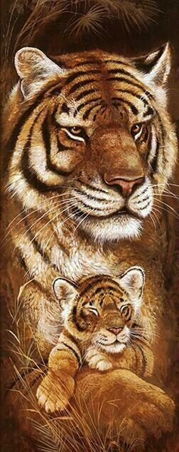 Wild Mothers Tiger - Full Drill Diamond Painting - Specially ordered for you. Delivery is approximately 4 - 6 weeks.