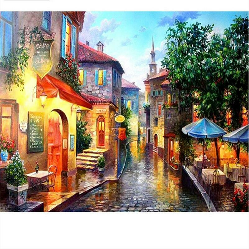 Street Scene - Full Drill Diamond Painting - Specially ordered for you. Delivery is approximately 4 - 6 weeks.