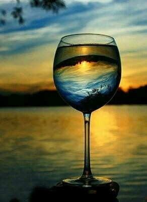 Wine Glass Sunset  - Full Drill Diamond Painting - Specially ordered for you. Delivery is approximately 4 - 6 weeks.