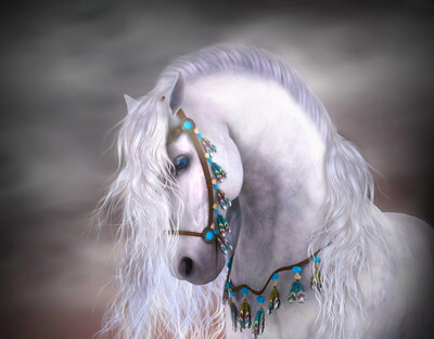 White horse - Full Drill Diamond Painting - Specially ordered for you. Delivery is approximately 4 - 6 weeks.