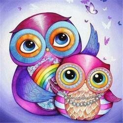 2 Colourful Owls - Full Drill Diamond Painting - Specially ordered for you. Delivery is approximately 4 - 6 weeks.