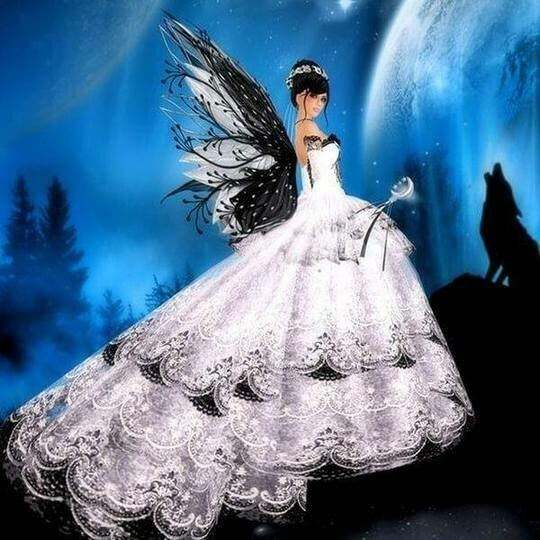 Black And white Fairy with Wolf - Full Drill Diamond Painting - Specially ordered for you. Delivery is approximately 4 - 6 weeks.