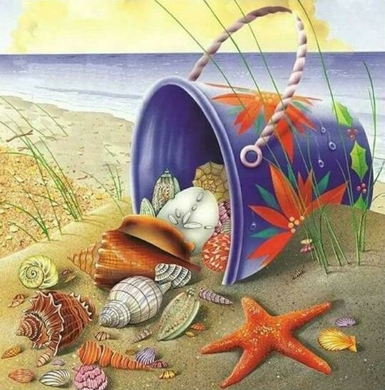 Bucket Of Shells - Full Drill Diamond Painting - Specially ordered for you. Delivery is approximately 4 - 6 weeks.