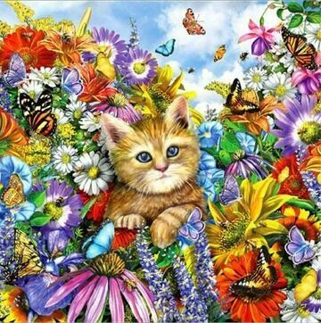 Cat In Flowers - Full Drill Diamond Painting - Specially ordered for you. Delivery is approximately 4 - 6 weeks.