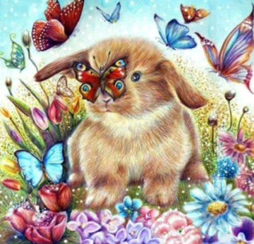 Bunny And Butterflies- Full Drill Diamond Painting - Specially ordered for you. Delivery is approximately 4 - 6 weeks.