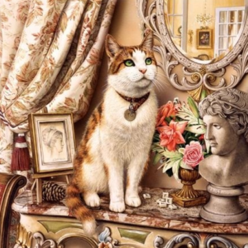 Cat On Table - Full Drill Diamond Painting - Specially ordered for you. Delivery is approximately 4 - 6 weeks.