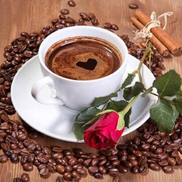 Coffee And Rose- Full Drill Diamond Painting - Specially ordered for you. Delivery is approximately 4 - 6 weeks.