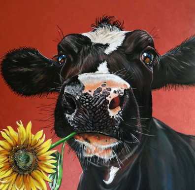 Cow With Flower - Full Drill Diamond Painting - Specially ordered for you. Delivery is approximately 4 - 6 weeks.