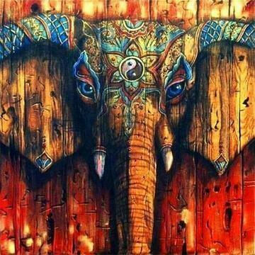 Elephant Painted Wood- Full Drill Diamond Painting - Specially ordered for you. Delivery is approximately 4 - 6 weeks.