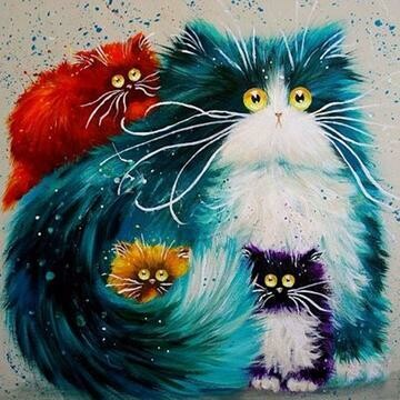 Fluffy Cats- Full Drill Diamond Painting - Specially ordered for you. Delivery is approximately 4 - 6 weeks.