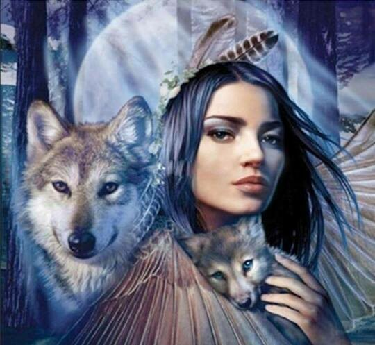 Girl With Wolves - Full Drill Diamond Painting - Specially ordered for you. Delivery is approximately 4 - 6 weeks.