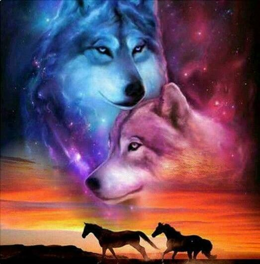 Horses And Wolves- Full Drill Diamond Painting - Specially ordered for you. Delivery is approximately 4 - 6 weeks.