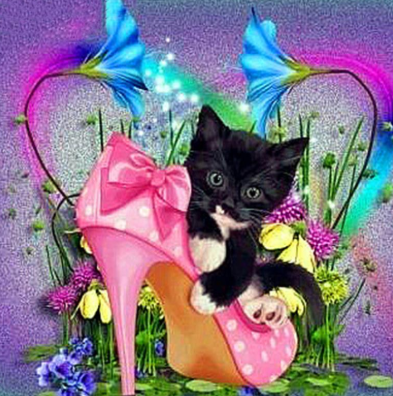 Kitten In Shoe - Full Drill Diamond Painting - Specially ordered for you. Delivery is approximately 4 - 6 weeks.