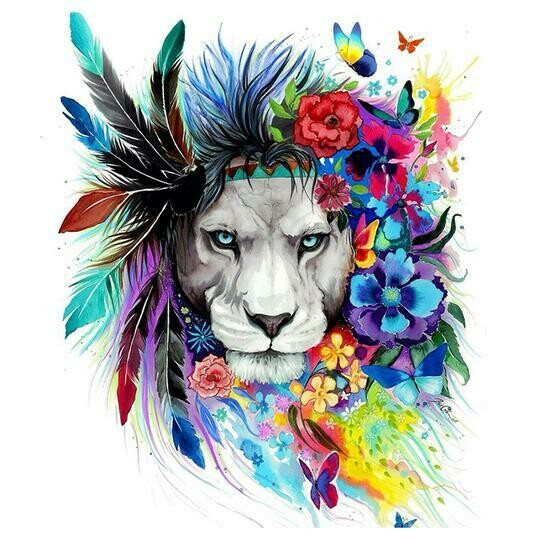 Lion With Flower - Full Drill Diamond Painting - Specially ordered for you. Delivery is approximately 4 - 6 weeks.