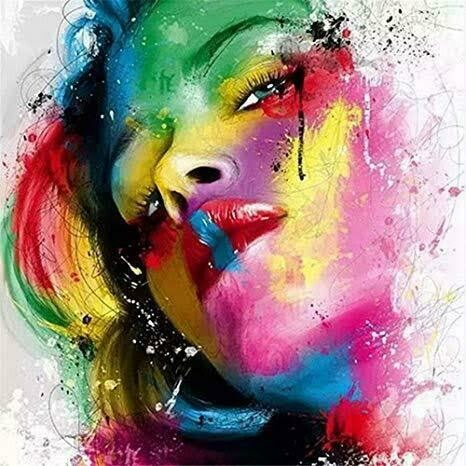 Multicoloured Lady 01- Full Drill Diamond Painting - Specially ordered for you. Delivery is approximately 4 - 6 weeks.