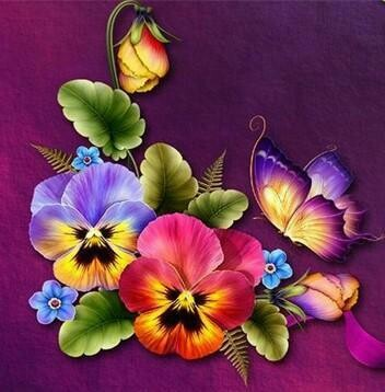 Pansies And Butterflies - Full Drill Diamond Painting - Specially ordered for you. Delivery is approximately 4 - 6 weeks.