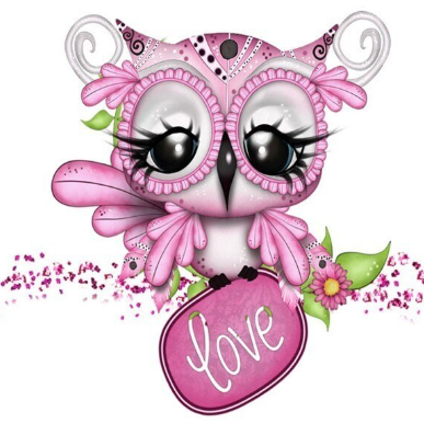 Pink Owl 02 - Full Drill Diamond Painting - Specially ordered for you. Delivery is approximately 4 - 6 weeks.