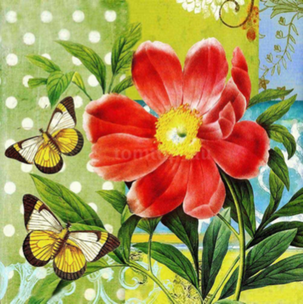 Red Flower And Butterflies - Full Drill Diamond Painting - Specially ordered for you. Delivery is approximately 4 - 6 weeks.