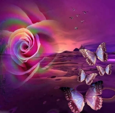Rose And Butterflies 03 - Full Drill Diamond Painting - Specially ordered for you. Delivery is approximately 4 - 6 weeks.