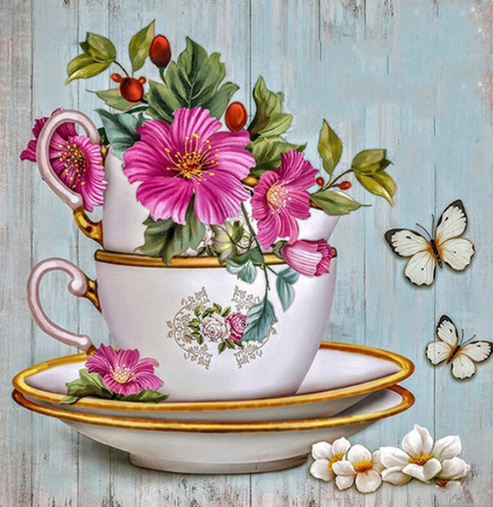 Tea Cup And Flowers - Full Drill Diamond Painting - Specially ordered for you. Delivery is approximately 4 - 6 weeks.
