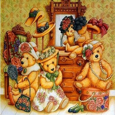 Teddy Bears Dress Up- Full Drill Diamond Painting - Specially ordered for you. Delivery is approximately 4 - 6 weeks.