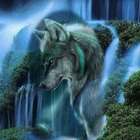 Waterfall Wolf - Full Drill Diamond Painting - Specially ordered for you. Delivery is approximately 4 - 6 weeks.