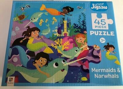 45 Piece Junior Jigsaw - Mermaids and Narwhals