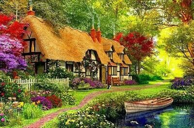 Thatched Cottage - 50 x 70cm - Full Drill (Round), Diamond Painting Kit - Currently in stock